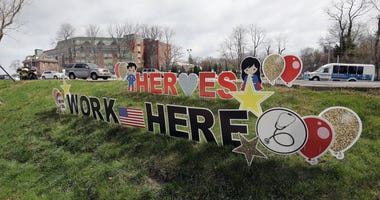 Signs in front of Huntington Hospital salute the medical workers on April 10, 2020 in Huntington, New York.