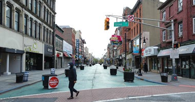 Streets are empty and businesses have been shuttered in Jersey City on April 27, 2020 in Jersey City, New Jersey.