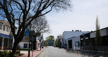 A main shopping street of closed stores in this affluent community remains mostly empty of pedestrians on May 05, 2020 in Westport, Connecticut.