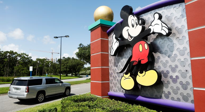 A view of Mickey Mouse at the Walt Disney World theme park entrance on July 9, 2020 in Lake Buena Vista, Florida.