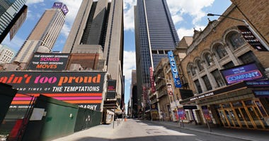 A view of Broadway theaters on W. 45th Street on June 29, 2020 in New York City.