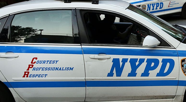 Two NYPD vehicles.