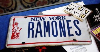 Ramones memorabilia sits on display at The Ramones 30th Anniversary Party