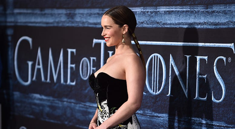 "Actress Emilia Clarke attends the premiere of HBO's ""Game Of Thrones"" Season 6 at TCL Chinese Theatre on April 10, 2016 in Hollywood, California."