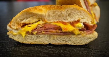 Taylor ham egg and cheese breakfast sandwich on a kaiser roll from New Jersey