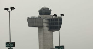 An air traffic control tower stands at John F. Kennedy International Airport (JFK) on June 5, 2017 in New York City.