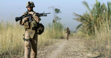 Marines on patrol in Fallujah.