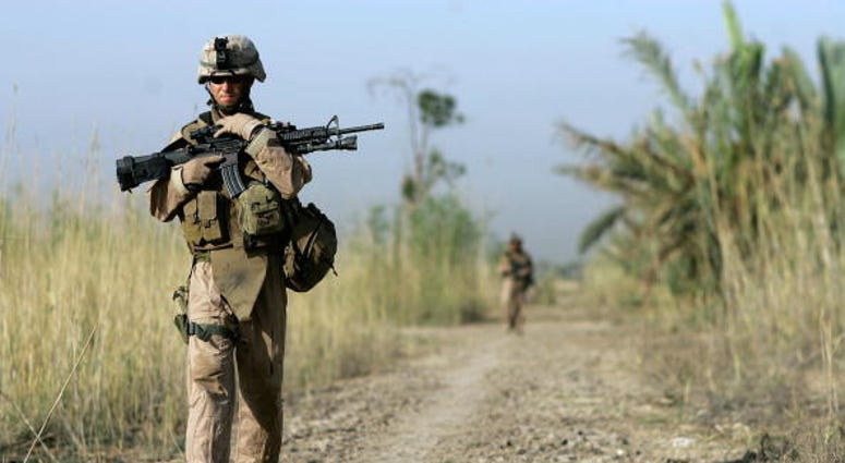 Marines on patrol in Fallujah.