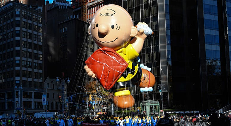 The Charlie Brown balloon floats in Columbus Circle during the 91st Annual Macy's Thanksgiving Day Parade on November 23, 2017 in New York City.