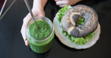Vegan bagel and smoothie