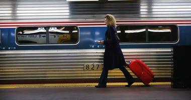 An Amtrak train in Penn Station