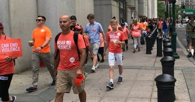 A youth organized anti-gun rally makes its way through lower Manhattan.