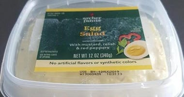 Recalled salads sandwiches
