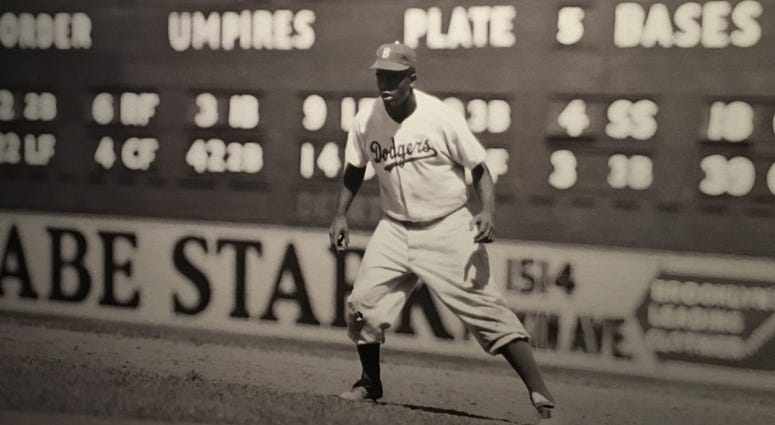 Jackie Robinson in the outfield
