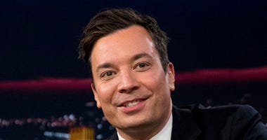 """FILE - In this Friday, Sept. 16, 2016, file photo, Jimmy Fallon talks during a taping of """"The Tonight Show with Jimmy Fallon,"""" in New York."""