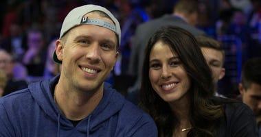 Jacksonville Jaguars QB Nick Foles sits alongside his wife, Tori.