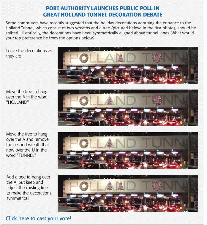 The Port Authority is putting their Holland Tunnel decorations up for public debate.