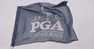 A flag blows in the wind at the 2019 PGA Championship at Bethpage Black.