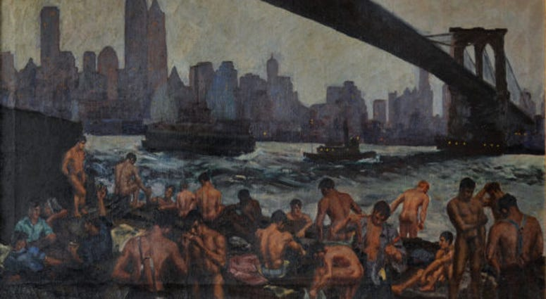 Edward Casey, Stevedores Bathing Under Brooklyn Bridge, 1939