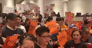A crowd inside Cooper Union before Rent Guidelines Board  vote