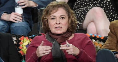 "FILE - In this Jan. 8, 2018, file photo, Roseanne Barr participates in the ""Roseanne"" panel during the Disney/ABC Television Critics Association Winter Press Tour in Pasadena, Calif."