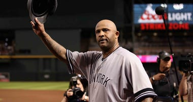 Yankees pitcher CC Sabathia becomes the 17th pitcher in MLB history with 3,000 strikeouts