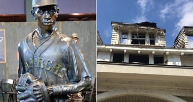 Satchel Paige's statue at the Negro League Baseball Museum and his old house in Kansas City