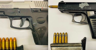 The illegal guns confiscated by police.