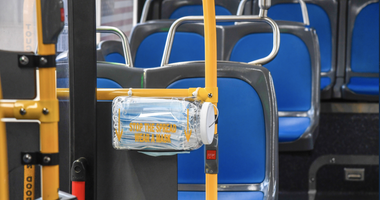 MTA bus mask dispenser