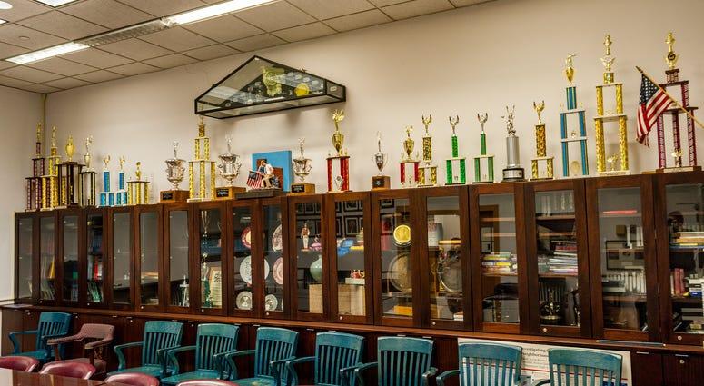 Trophy case at Stuyvesant High School.