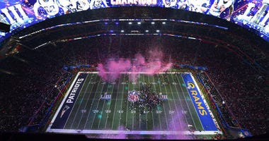 A general view as the New England Patriots defeat the Los Angeles Rams in Super Bowl LIII at Mercedes-Benz Stadium.