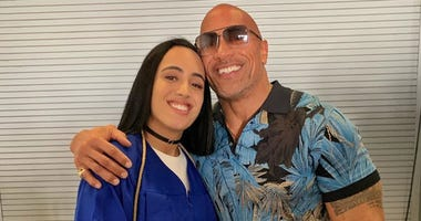 Dwayne Johnson with his daughter
