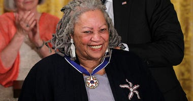 Novelist Toni Morrison is presented with a Presidential Medal of Freedom by U.S. President Barack Obama during an East Room event May 29, 2012 at the White House in Washington, DC.