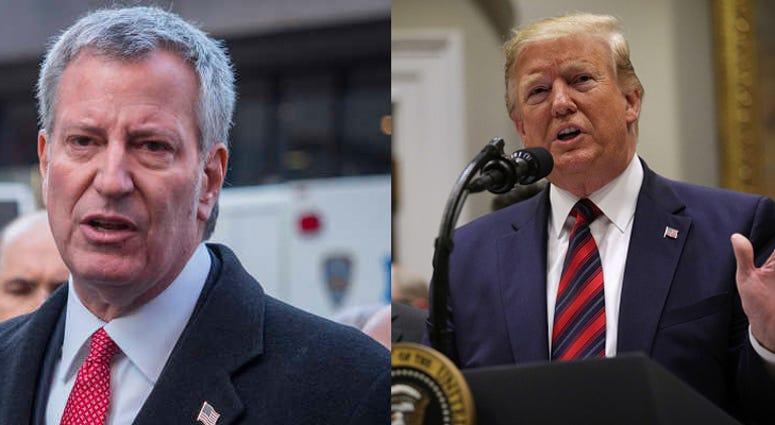 President Donald Trump and Mayor Bill de Blasio