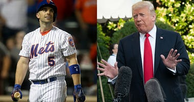 David Wright (L) and President Donald Trump (R).