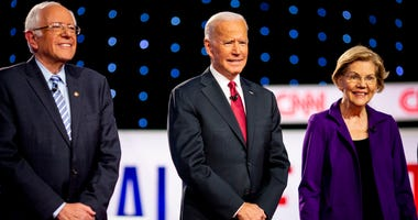 Sanders, Biden and Warren at a debate