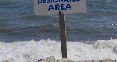Swimming sign at Fire Island.