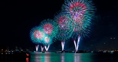 In 2018, the 42nd Annual Macy's 4th of July Fireworks Show illuminates the sky over the East River in New York City.