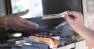 New York City Hot Dog Cart File Image