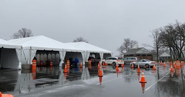 The New Rochelle drive-through testing site