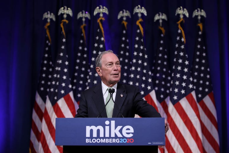 Newly announced Democratic presidential candidate, former New York Mayor Michael Bloomberg speaks at a press conference to discuss his presidential run on November 25, 2019 in Norfolk, Virginia.