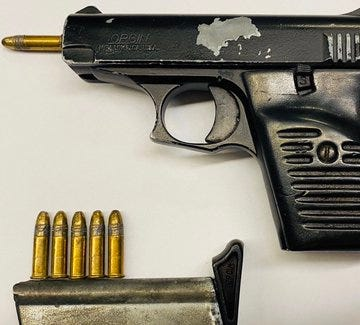 One of the illegal guns confiscated by police.