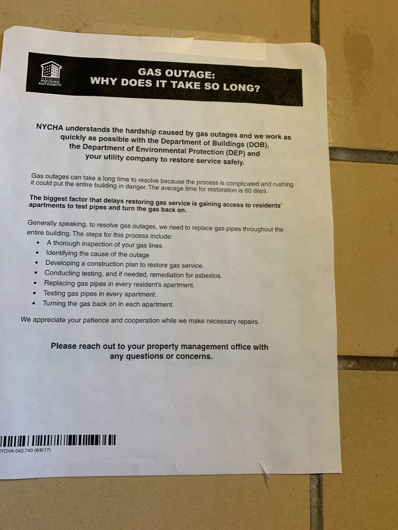 NYCHA Flyer About Gas Outage in Brooklyn