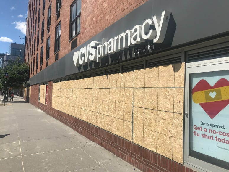 A bank that was vandalized