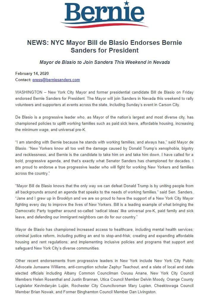 De Blasio endorses Sanders