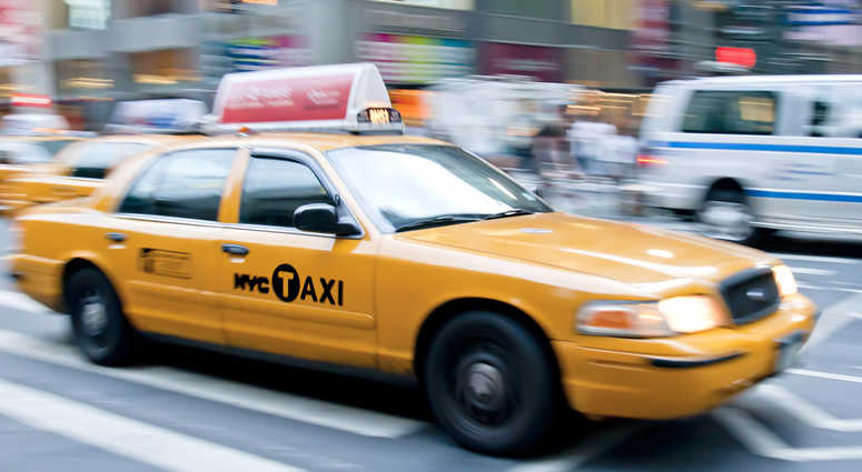 A yellow cab in New York City.