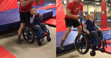 Boy in wheelchair trampoline