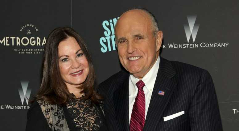 "In this Tuesday, April 12, 2016, file photo, Judith Giuliani, left, and former New York mayor Rudy Giuliani, right, attend the premiere of ""Sing Street"" at Metrograph, in New York. Giuliani and his third wife, Judith, have reached a settlement in a years"