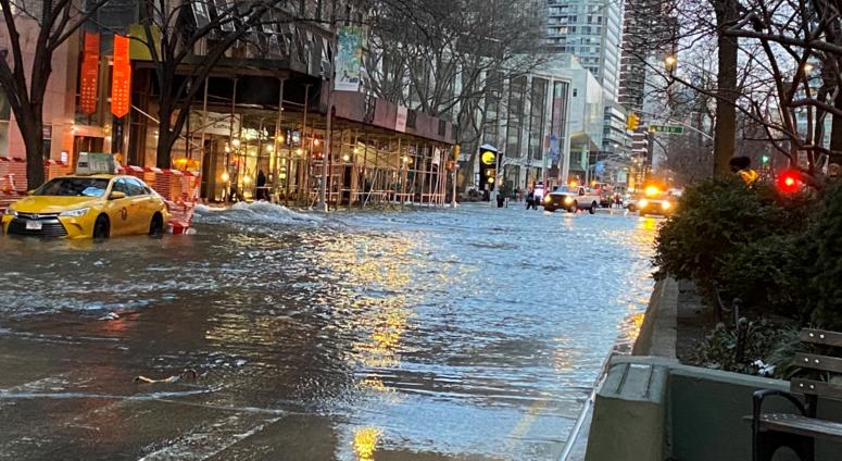 Water main break Upper West Side