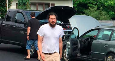 Michael Rotondo, 30, prepares to leave his parents' house in Camillus, N.Y., Friday, June 1, 2018. Rotondo, whose eviction from his parents' home drew national attention finally left Friday, hours before a court-ordered deadline.